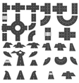 Set of sections of roads and various roundabout vector image