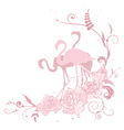 pink flamingo and roses vector image vector image