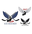 Ice hockey emblems with winged skates vector image vector image