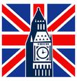 big ben clock bell tower british falg vector image