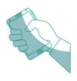isolated hand taking cellphone vector image