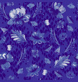 painting flowers in blue and white vector image