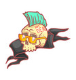Punk skull wearing glasses colorful cartoon vector image