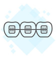 tooth with braces thin line icon stomatology vector image