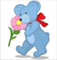 Blue Teddy bear with flower vector image vector image