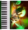 Abstract grunge green background with trumpets and vector image