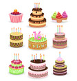 birthday cake set isolated on white vector image