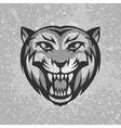 Black and grey tiger head logo on dirty plaster vector image