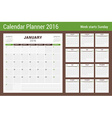 Calendar Planner for 2016 Year Stationery Design vector image