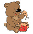 cute bear with honey - eps 10 vector image