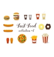Fast Food Collection Burger Hot Dog Coffee Tea vector image