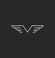 Monogram wings V letter logo mockup creative vector image