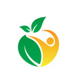 people leaf eco logo vector image