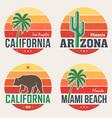 set of california arizona miami t-shirt prints vector image