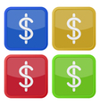 set of four square icons - dollar currency symbol vector image