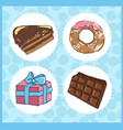 set of icons of sweets with chocolate cake donut vector image