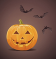 Jack-o-lantern with bats vector image