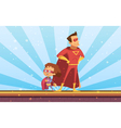 Couple Of Adult And Child Cartoon Superheroes vector image