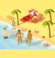 friends ocean beach vacation isometric poster vector image vector image