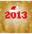 Vintage New Years Card With Red Santa Hat vector image
