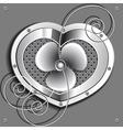 metallic heart with a fan and springs vector image