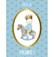 Its a boy card Small prince riding rocking horse vector image