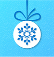 Paper christmas ball with snowflake vector image