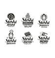 sushi and rolls logo or label japanese fast food vector image