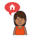 young woman avatar character with speech bubble vector image