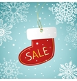 Christmas sock sale tag on a snowy background vector image