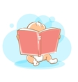Cute little baby reading book vector image