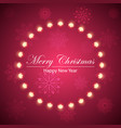 merry christmas bulb yellow garland on the flakes vector image