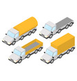 trucks collection of yellow isometric vehicles vector image