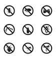 Prohibited insects icons set simple style vector image
