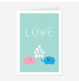 Pink and blue elephants with heart fountain Love vector image