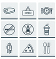 set of 9 restaurant icons includes no drinking vector image