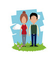 couple relation together field background vector image