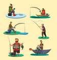 set of fisherman catches fish sitting on boat and vector image