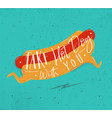 poster take hot dog with you turquoise vector image