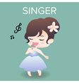 cute cartoon or mascot singer for introducing vector image