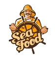 seafood logo fisherman fisher angler or vector image