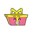 kawaii cute happy present gift vector image