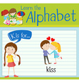 Flashcard letter K is for kiss vector image