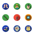 Crime set icons in flat style Big collection of vector image