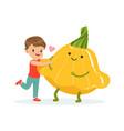 happy boy having fun with fresh smiling squash vector image