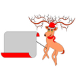 A Christmas deer with a big blank paper vector image