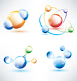 molecule structure abstract glossy icons set vector image vector image