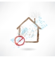 Ban house grunge icon vector image