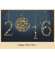 2016 Happy New Year greeting card vector image
