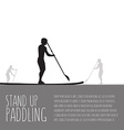 three men with stand up paddle boards and vector image